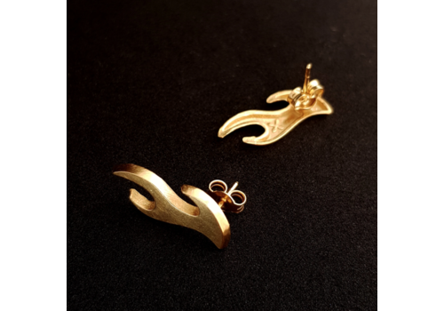 Xtellar Xtellar - Mini Flames - Gold Plated Earrings