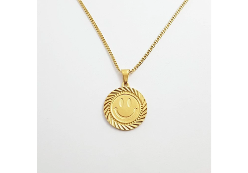 Xtellar Xtellar - Smiley - Gold Plated Silver Necklace