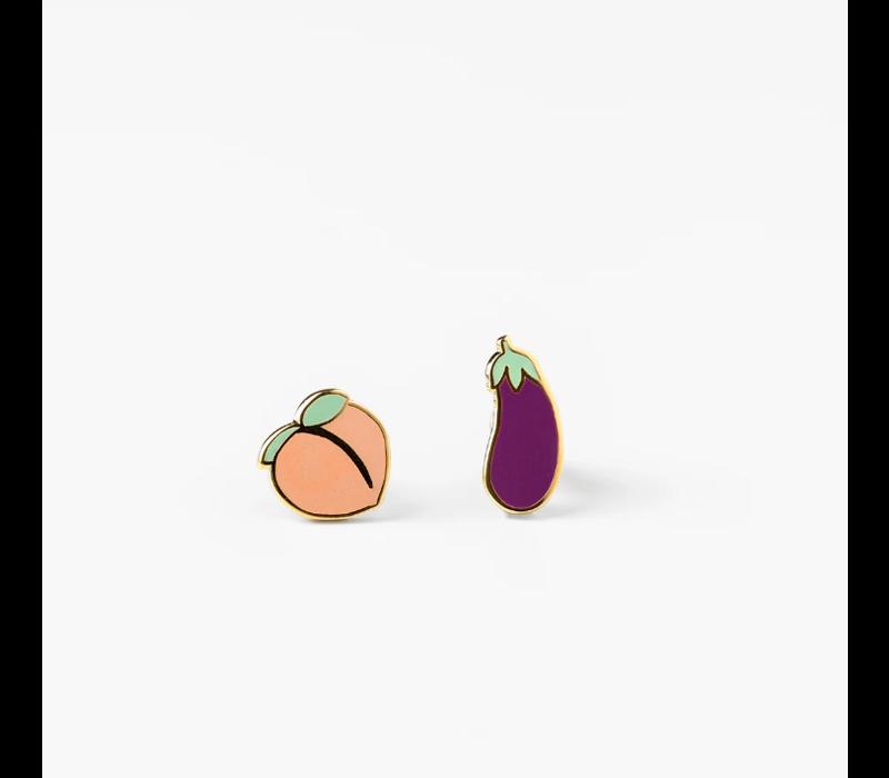 Yellow Owl Workshop - Peach & Eggplant - Earrings