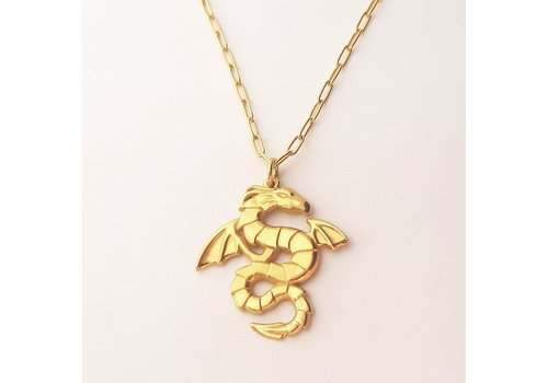 Xtellar Xtellar - Dragons Necklace - Gold Plated Silver