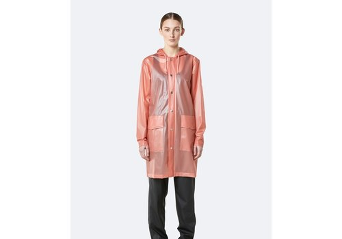Rains Rains - Transparent Hooded Coat - Foggy Coral