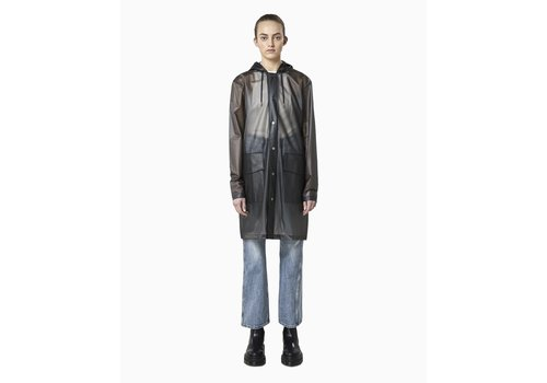 Rains Rains - Transparent Hooded Coat - Foggy Black
