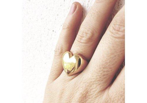 Xtellar Xtellar - Heart Ring - Gold Plated Silver - Adjustable