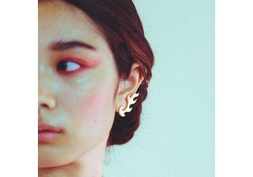 Xtellar Xtellar - Medium Flames - Silver - Earrings