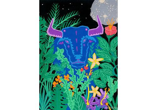 Juan Motrel Juan Motrel  - Toro Azul  -  Black  Print
