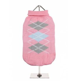 Urban Pup Urban Pup Baby Pink / Grey Argyle Sweater