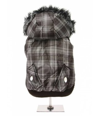 Urban Pup Urban Pup Brown Checked Parka with Detachable Hood