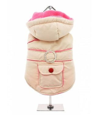 Urban Pup Urban Pup Cream / Pink Quilted & Hooded Bodywarmer
