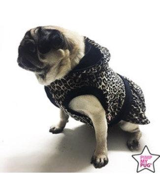 Pimp My Pug Leopard Jurk Zwart