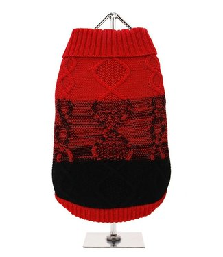 Urban Pup Urban Pup Donegal Red & Black Ribbed Sweater