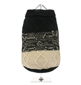 Urban Pup Urban Pup Donegal Black & Brown Ribbed Sweater