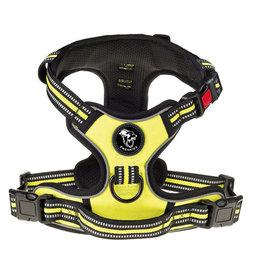 Frenkiez Frenkiez reflective no pull lockable dog harness yellow/green