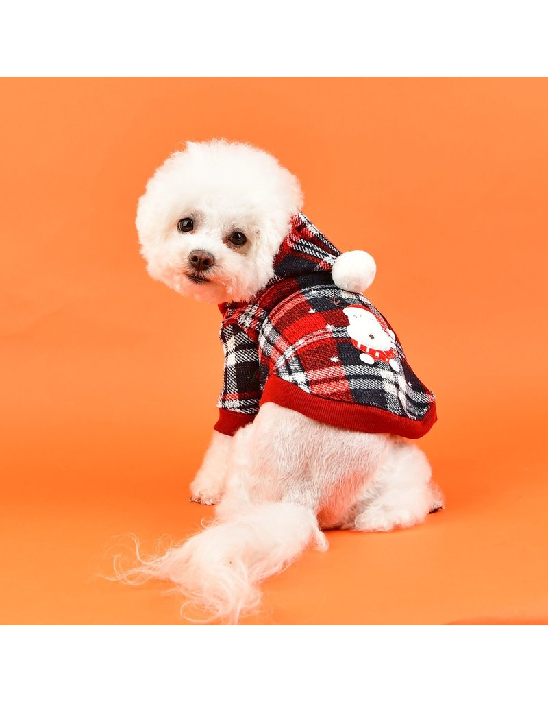 Puppia Puppia Blitzen Hoodie  Checkered Red