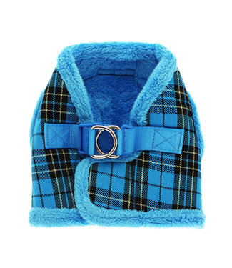 Urban Pup Urban Pup Luxury Fur Lined Blue Tartan Harness