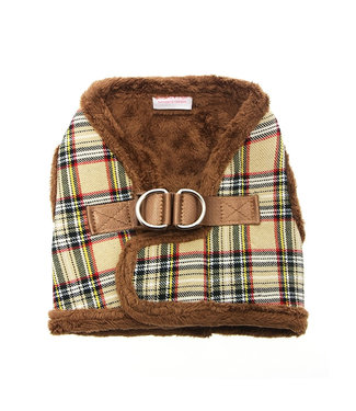Urban Pup Urban Pup Luxury Fur Lined Brown Tartan Harness