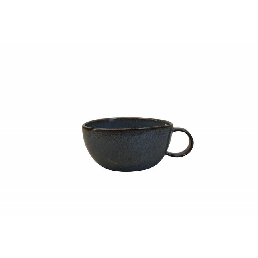 Soup bowl with handle Stone petrol