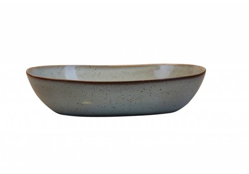 Large deep oval bowl stone sea green