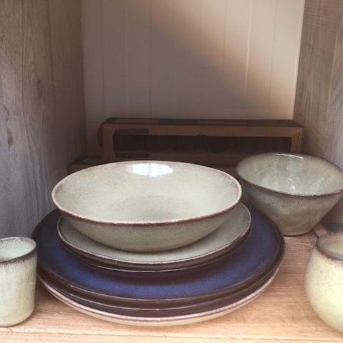 Stone blue tableware