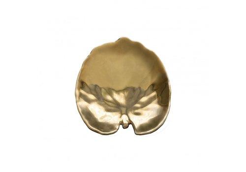 Dish medium gold leaf riviera