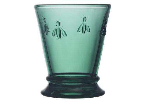 green water glass bee