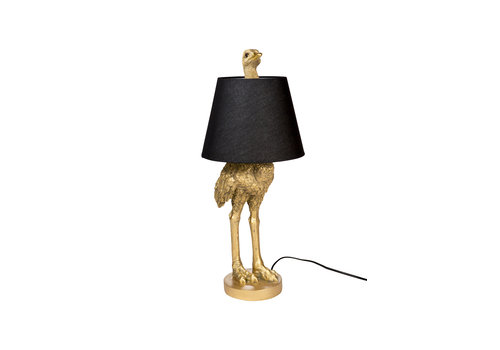 ostrich lamp with shade gold