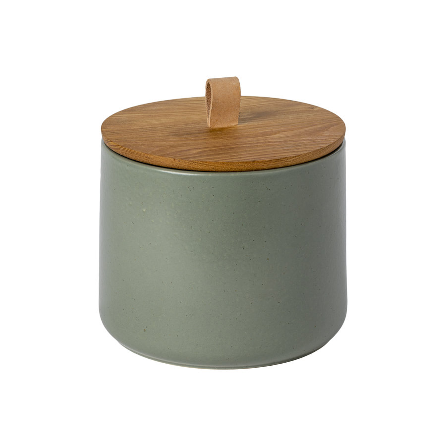 canister with oak wood lid 20cm pacifica green