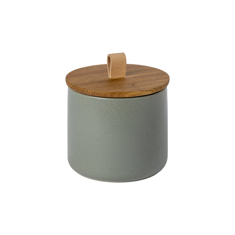 canister with oak wood lid 15 cm pacifica green