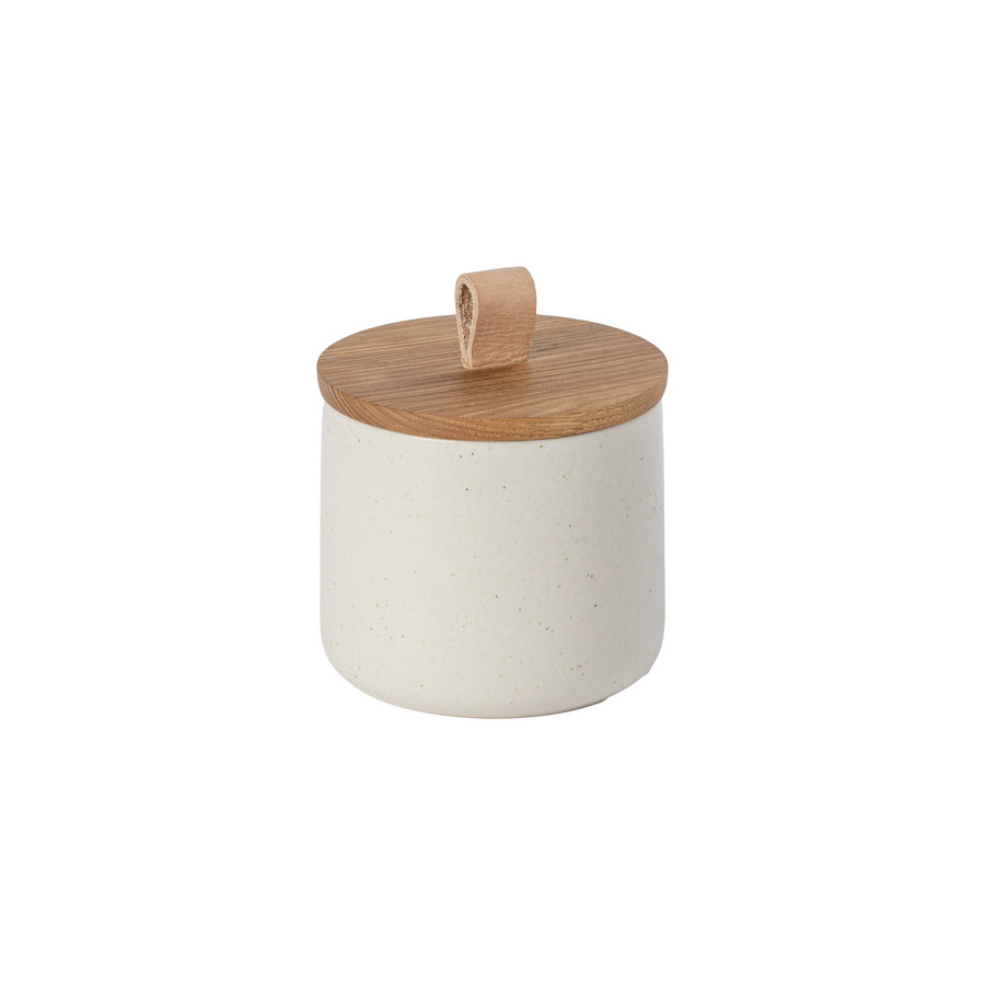 canister with oak wood lid 12 cm pacifica creme