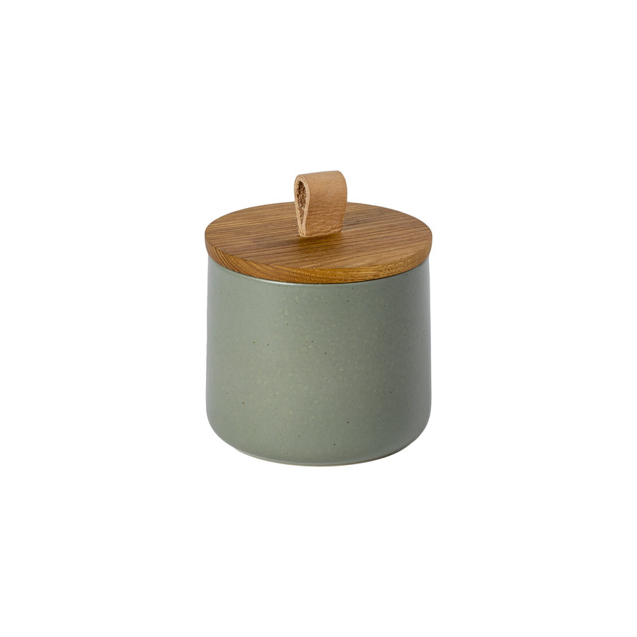 canister with oak wood lid 12 cm pacifica green