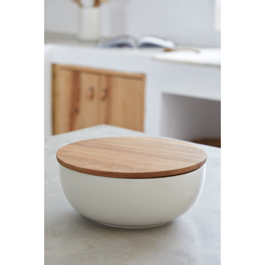serving bowl with oak cutting board 25 cm pacifica green