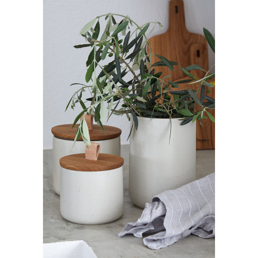 canister with oak wood lid 20cm pacifica creme