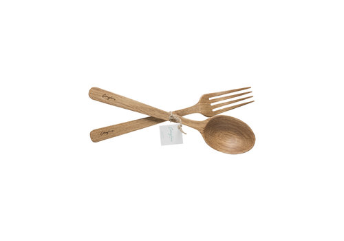 Oak wood spoon and fork set, OAK WOOD KITCHEN UTENSILS,