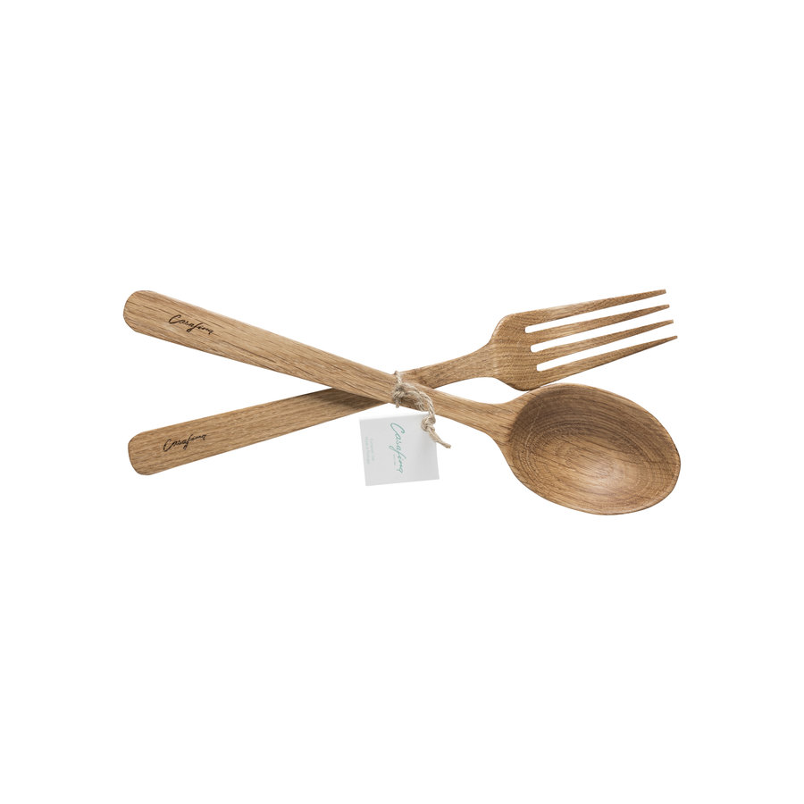 Oak wood spoon and fork set, OAK WOOD KITCHEN UTENSILS,bler 300 ml, SENSA, clear w/ golden rim - Copy