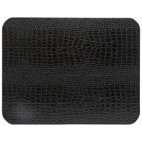 Rect. placemat 100% PU, CLUB, black