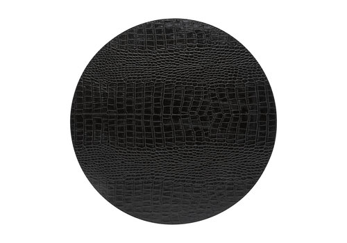Round placemat 100% PU, CLUB, black