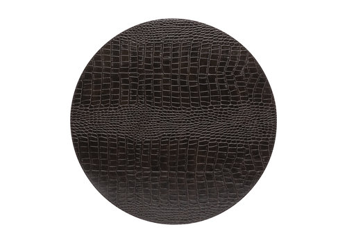 Round placemat 100% PU, CLUB, chocolate