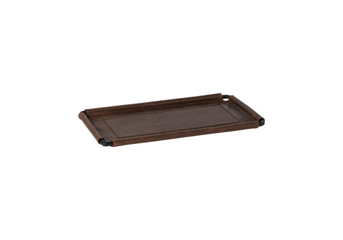 Leather rect. tray 25 cm