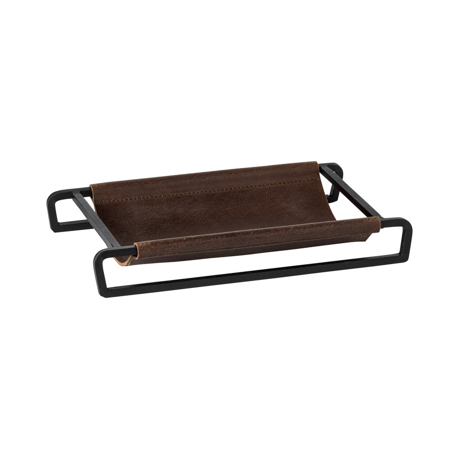Leather rect. tray/basket 25