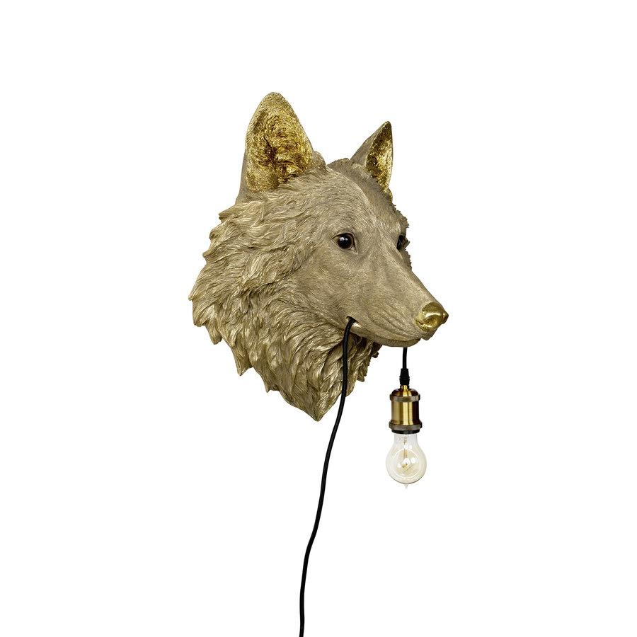 Wolf lamp goud