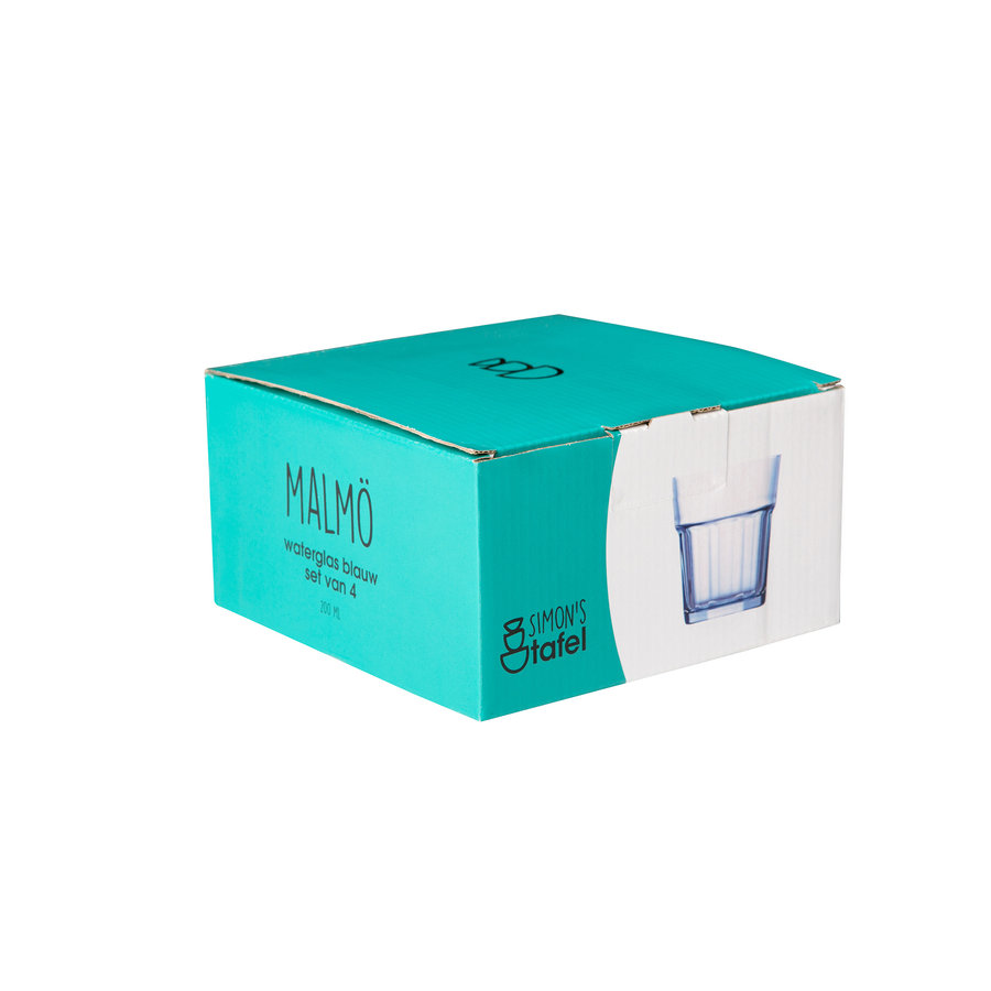 Waterglas Malmo blauw set van 4