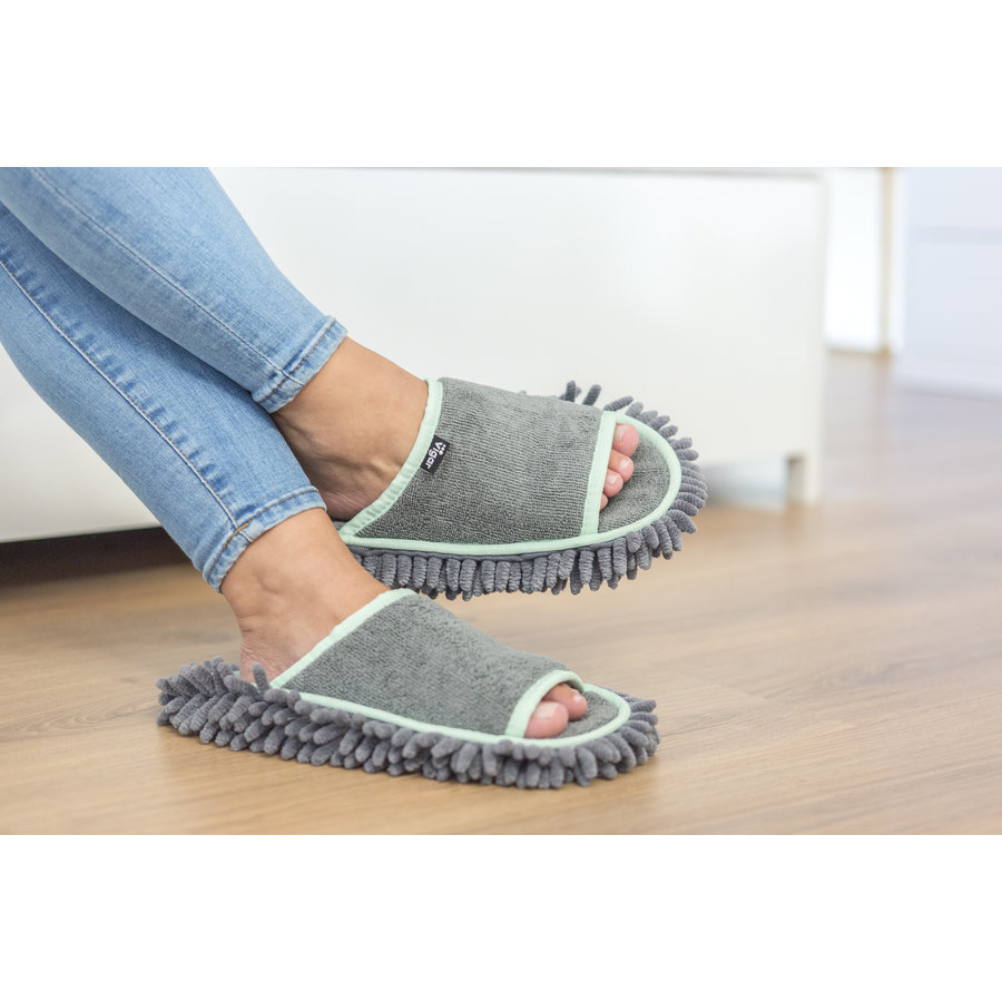 microfiber cleaning slippers gray