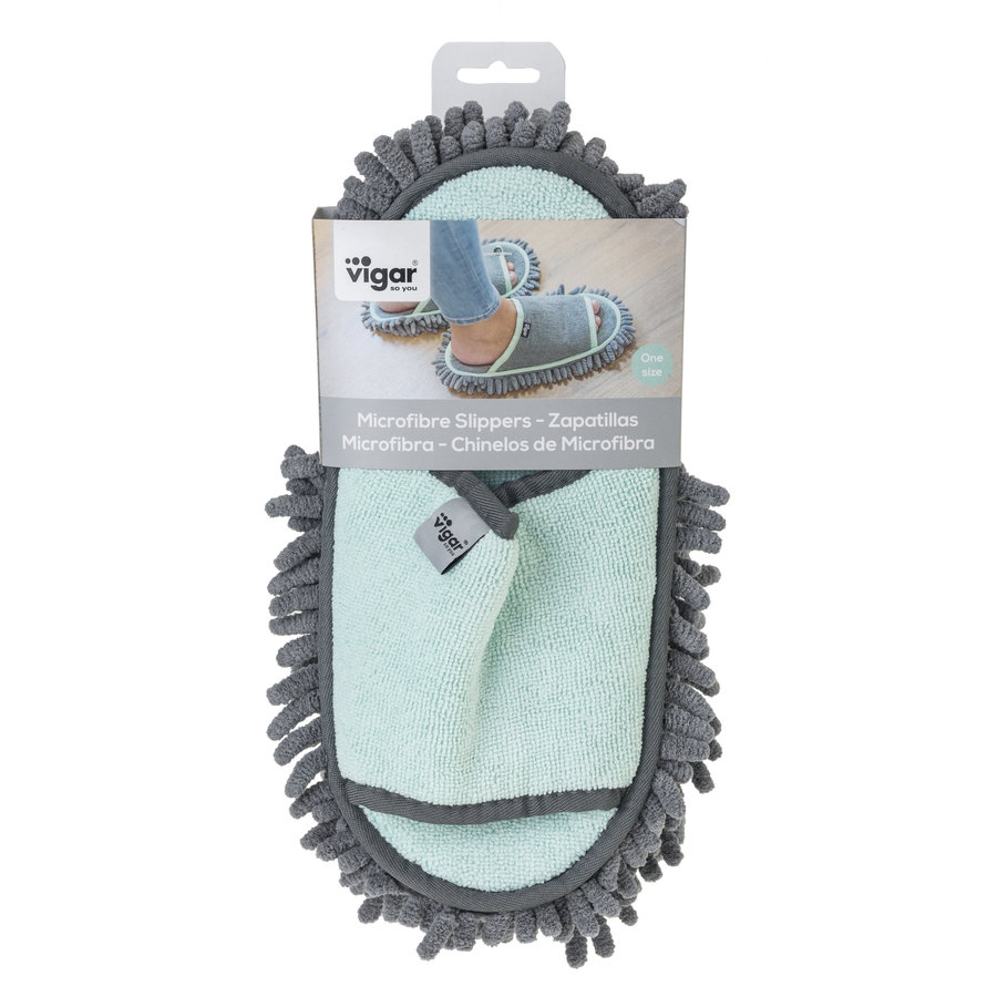 microfiber cleaning slippers turquoise