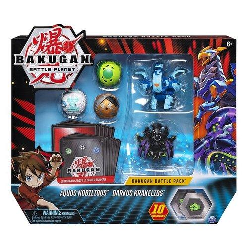 Bakugan Battle Pack met 5 Bakugan - Aquos Nobilious - Darkus Krakelios