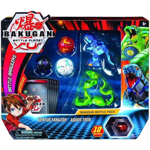 Bakugan Battle Pack met 5 Bakugan - Ventus Fangzor - Aquos Trox