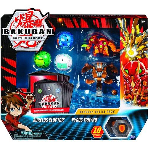 Bakugan Battle Pack met 5 Bakugan - Aurelus Cloptor - Pyrus Trhyno
