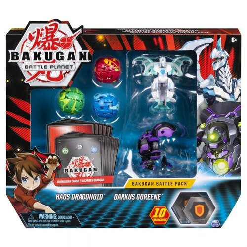 Bakugan Battle Pack met 5 Bakugan - Haos Dragonoid - Drakus Goreene