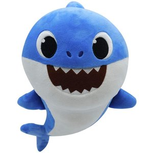 Baby Shark Vader Haai Zingende Knuffel - Blauw