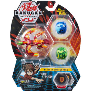 Bakugan Starter Pack met 3 Bakugan - Pyrus Pyravian