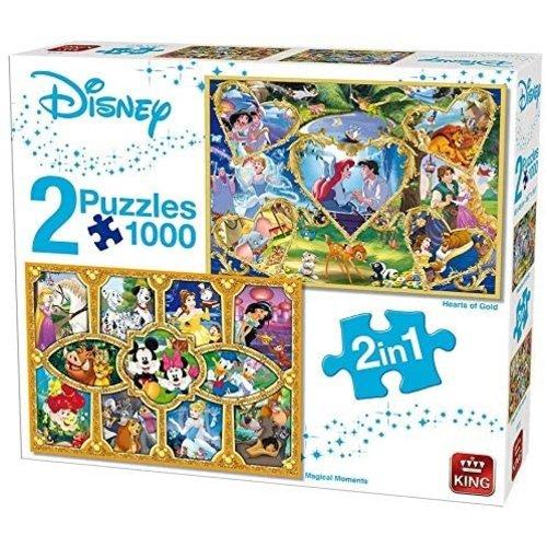 King Puzzel 2 in 1 - Disney Harten van goud en Movie Magic