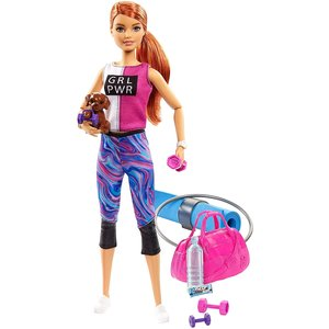 Barbie Fitness Doll Ginger with Puppy (GJG57)